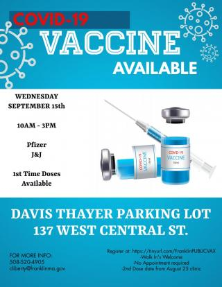 COVID-19 Vaccination Clinic - Sep 15 -> 10 AM to 3 PM