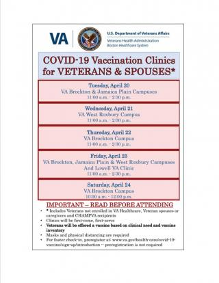 More COVID-19 vaccine clinics scheduled for veterans, spouses & caregivers!